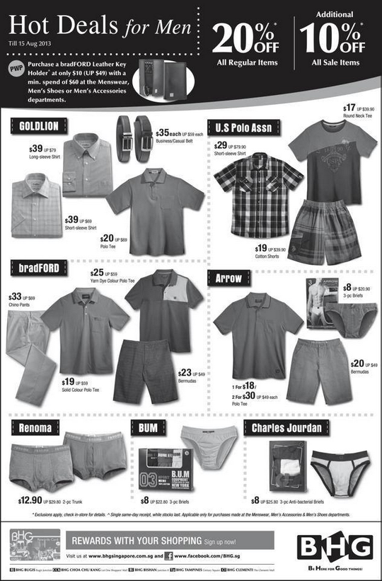 BHG Hot Deals For Men - Up To 20 Off (Till 15 Aug 2013)