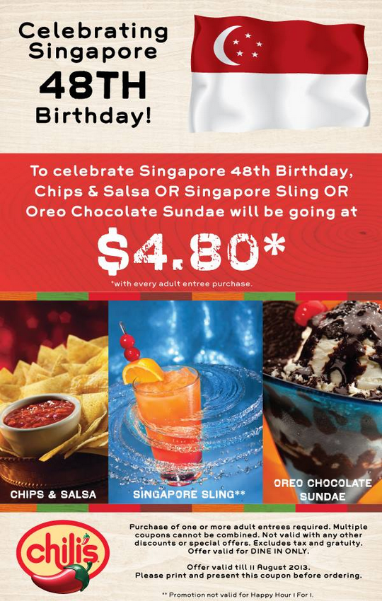 Chilis Singapore 48th Birthday $4.80 Deal