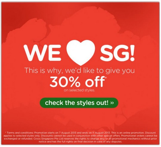 Crocs National Day Promotion - 30 Off Selected Styles