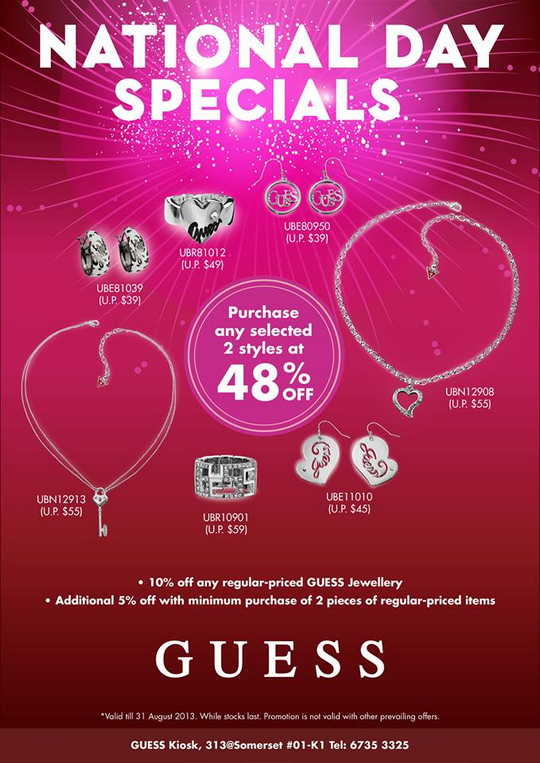 GUESS Jewellery National Day Specials (Till 31 Aug 2013)