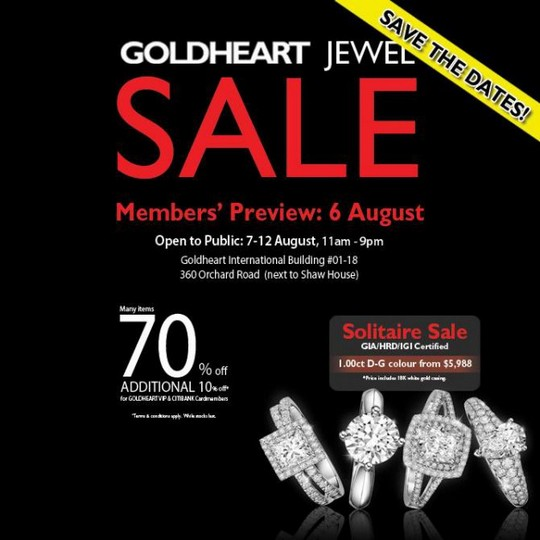 Goldheart Jewel Solitaires Warehouse Sale (Till 12 Aug 2013)