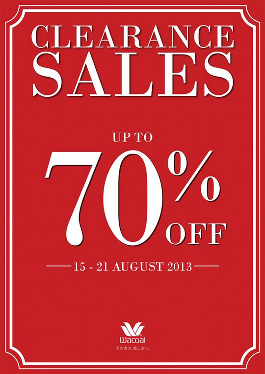 Metro Wacoal Clearance Sale (Till 21 Aug 2013)