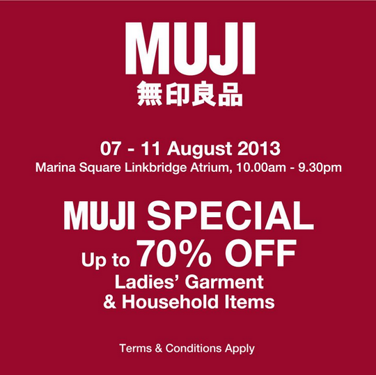 Muji Sale - Up To 70 Off Ladies' Garment & Household