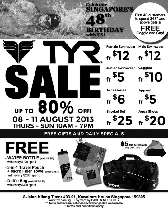 TYR National Day Sale (8 - 11 Aug 2013)