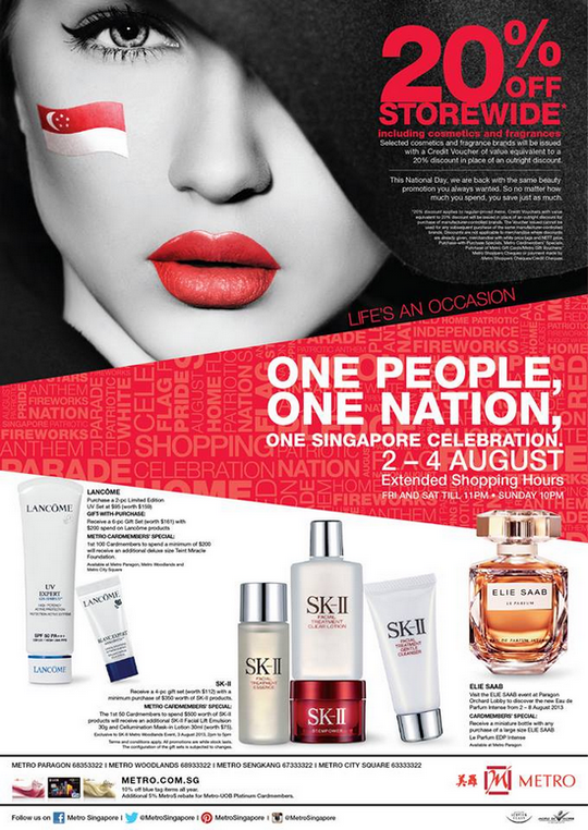 The Metro National Day 20 Off Storewide (Till 4 Aug 2013)