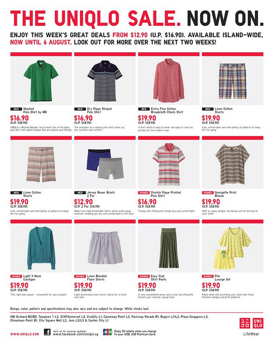The UNIQLO Sale (Till 6 Aug 2013)