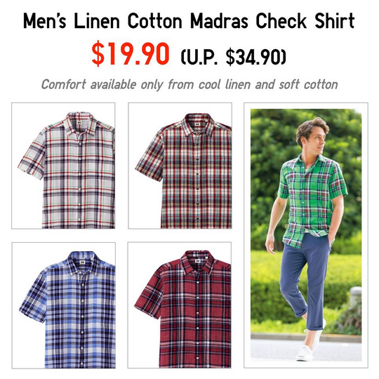 Uniqlo Mens Linen Cotton Madras Check Shirt @ $19.90