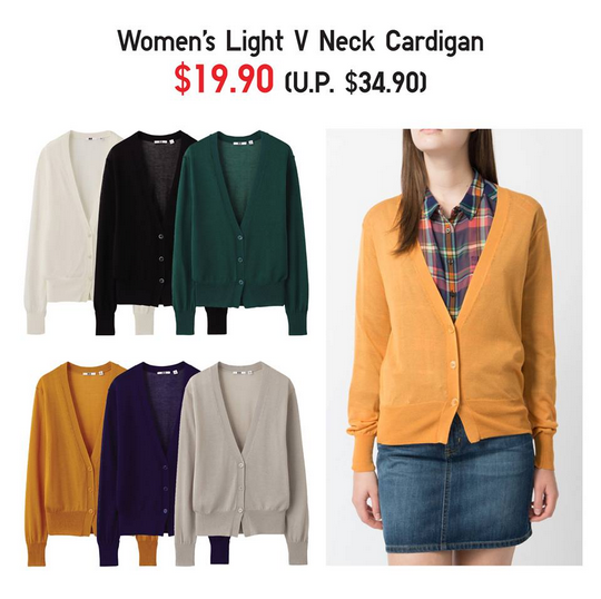 Uniqlo Womens Light V Neck Cardigan @ $19.90