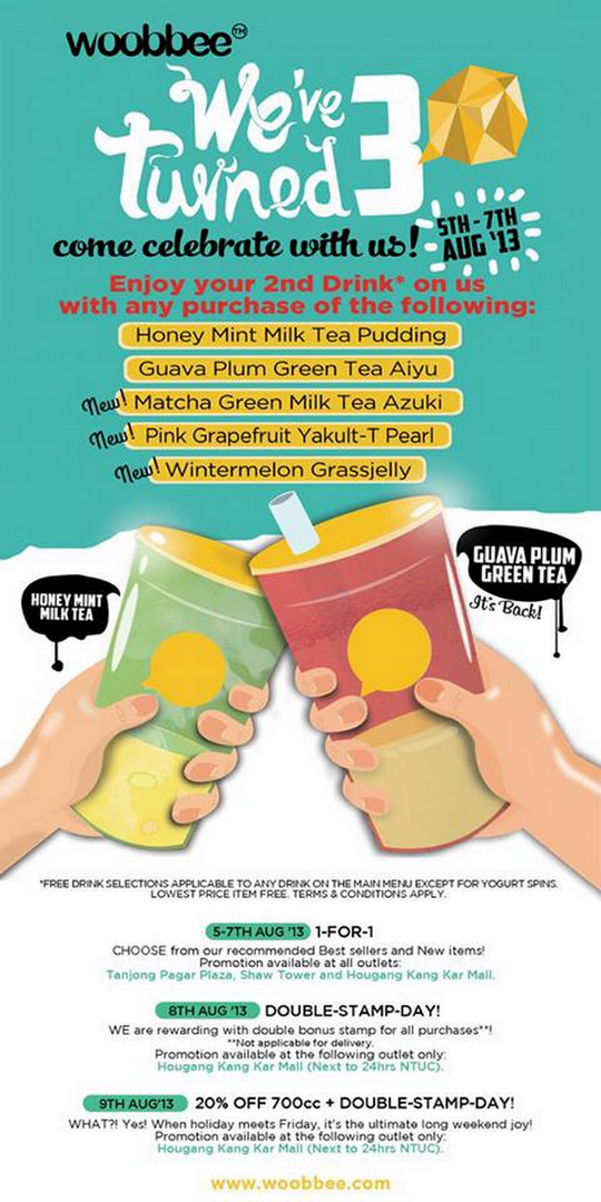 Woobbee Bubble Tea 3rd Birthday 1-For-1 Promotion (Till 7 Aug 2013)